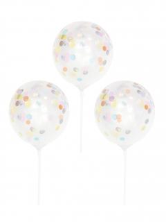 Konfetti-Latexballons 5 Stück transparent-bunt 5 x 13,5 cm