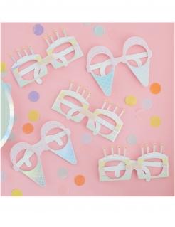 Party-Brillen aus Karton Eis und Kuchen 8 Stück bunt 16 cm