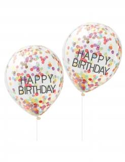Konfetti-Ballons Happy Birthday Geburtstag-Deko 5 Stück bunt 30 cm
