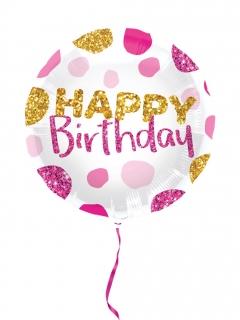 Geburtstag-Ballon Glitzer pink-gold-weiss 45 cm
