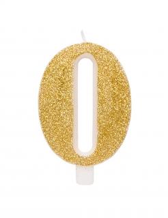 Geburtstagskerze Zahl mit Glitzer Kuchen-Deko gold 9,5cm