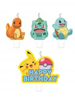Pokémon™-Geburtstagskerzen Kuchendeko 4 Stück bunt