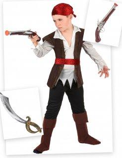 Piratenkostüm für Kinder schwarz-weiss-rot