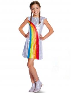 Regenbogen-Kleid für Kinder mit Pailletten Offizielles K3™-Kostüm silber-bunt