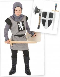 Ritter-Kostümset für Kinder 6-teilig schwarz-grau
