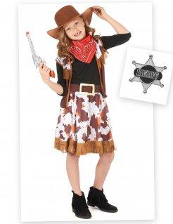 Cowgirl-Kostüm-Set für Mädchen 7-teilig braun