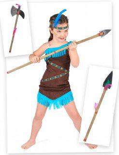 Indianer-Kostüm-Set für Mädchen Squaw-Set 4-teilig braun-blau