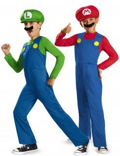 Super Mario™ und Luigi™ Paarkostüm für Kinder blau-grün-rot