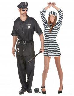 Polizist und Gefangene Paarkostüm Faschingskostüm schwarz-weiss