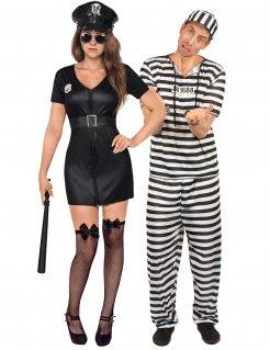 Polizistin und Gefangener Paarkostüm Faschingskostüm schwarz-weiss