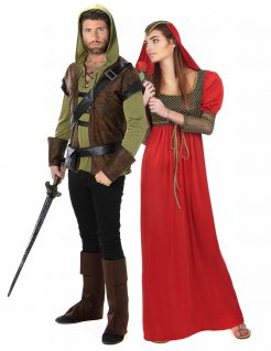 Waldläufer und Prinzessin Paarkostüm Faschingskostüm grün-braun-rot