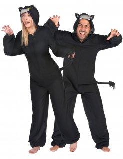 Panther-Paarkostüm Faschingskostüm schwarz-grau