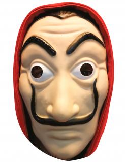 Bankräuber-Maske Pappmaske rot-beige