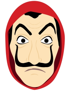 Bankräuber-Maske in Comicoptik rot-hautfarben