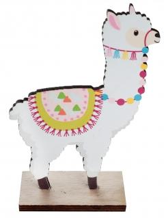 Lama-Tischdeko aus Holz bunt 6 x 4 x 12 cm