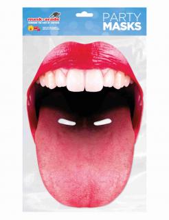 Maske ausgestreckte Zunge für Erwachsene rot-weiss