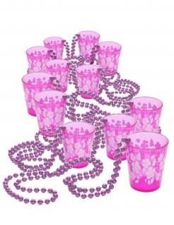 Halsketten-Set Shooter-Gläser 12 Stück rosa 50cm