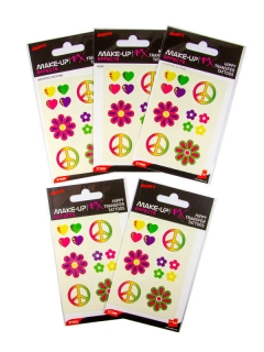 Hippie Fake-Tattoo-Set 5 Bögen bunt