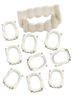 Vampirzähne-Set 10 Stück weiss