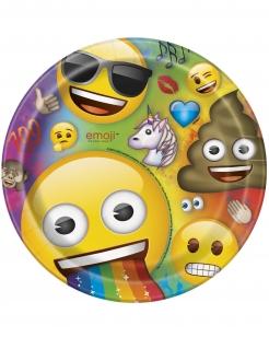 Emoji Rainbow™-Pappteller Partydeko 8 Stück bunt 23cm