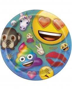 Emoji Rainbow™-Pappteller klein Partydeko 8 Stück bunt 18cm
