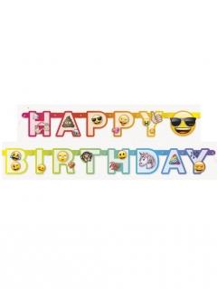 Emoji Rainbow™-Girlande Happy Birthday bunt 1,8m