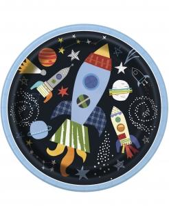Galaktische Weltraum-Pappteller 8 Stück bunt 23 cm