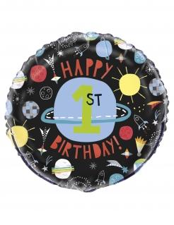 Geburtstag-Ballon 1. Geburtstag Weltall Geburtstag-Deko bunt 45 cm