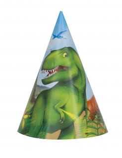 Dinosaurier-Partyhüte 8 Stück bunt