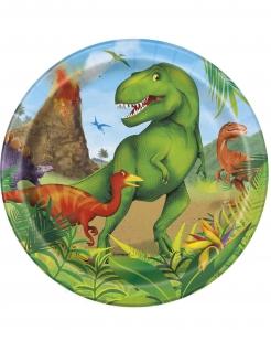 Pappteller Dinosaurier Partyzubehör 8 Stück bunt 18 cm