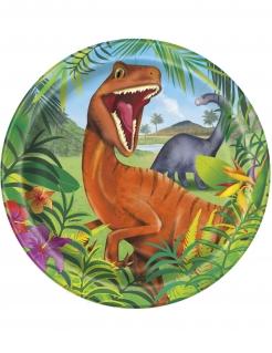 Dinosaurier-Pappteller Tischdeko 8 Stück bunt 23 cm