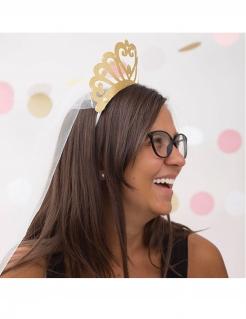 Prinzessinnen-Krone mit Schleier für Erwachsene gold-weiss