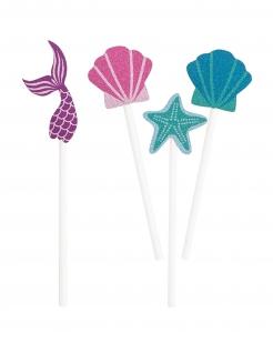 Meerjungfrauen-Partypicker Unterwasser-Motiv 8 Stück blau-lila-pink 10cm