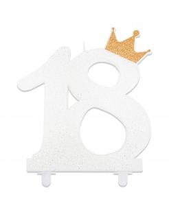 Geburtstagskerze zum 18. Geburtstag Zahl 18 weiss-gold 12cm
