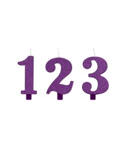 Geburtstagskerze Zahl mit Glitzer Kuchen-Deko violett 9,5cm