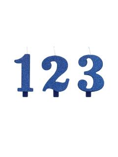 Geburtstagskerze Zahl mit Glitzer Kuchen-Deko blau 9,5cm