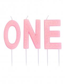 One-Geburtstagskerzen 3-teilig pink 9,5 cm