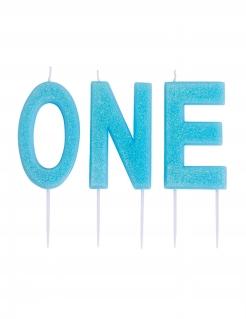 Glitzernde Geburtstagskerzen ONE 1. Geburtstag blau 9,5cm