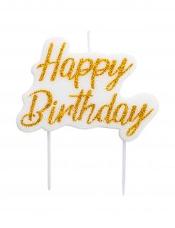 Geburtstagskerze Happy Birthday Kuchendeko weiss-gold 8x6cm