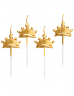 Kronen-Kerzen 5 Stück gold 8 cm