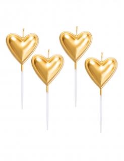 Kerzen in Herzform 5 Stück gold 8cm