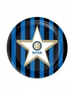 Inter Mailand™-Pappteller klein Partydeko 8 Stück blau-weiss-schwarz 18 cm
