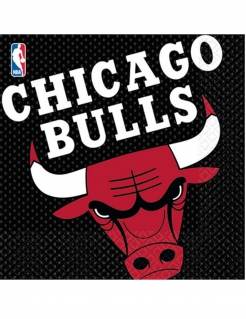 Chicago Bulls™-Servietten schwarz-rot-weiss 16 Stück 33x33cm