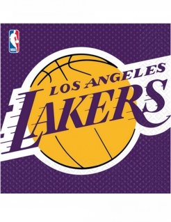 Los Angeles Lakers™-Servietten Basketball-Servietten NBA 16 Stück lila-gelb 33x33cm