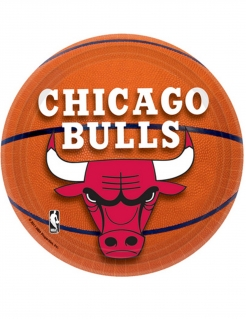Chicago Bulls™-Teller NBA-Partyteller 8 Stück orange-rot 18cm