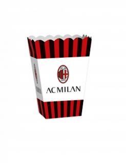 AC Mailand™-Popcornbehälter Partydeko 4 Stück schwarz-rot-weiss 13,5x8,5x19 cm