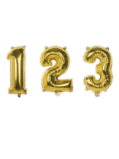 Zahlen-Luftballon Ziffern-Ballon für Geburtstage gold 35 cm