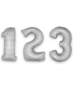 Zahlen-Luftballon Ziffern-Ballon für Geburtstage silber 1 m
