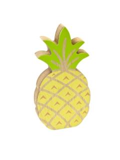 Ananas-Tischdeko aus Holz Sommerparty-Deko gelb-grün 12 cm