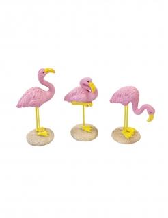 Flamingo-Figur aus Kunstharz 1 Stück pink-gelb 3,5 x 10 cm